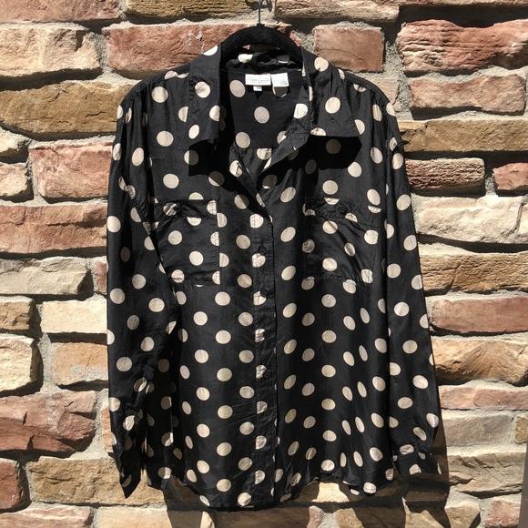 Newport News Tops Easy Style 100 Silk Polka Dot Top Poshmark